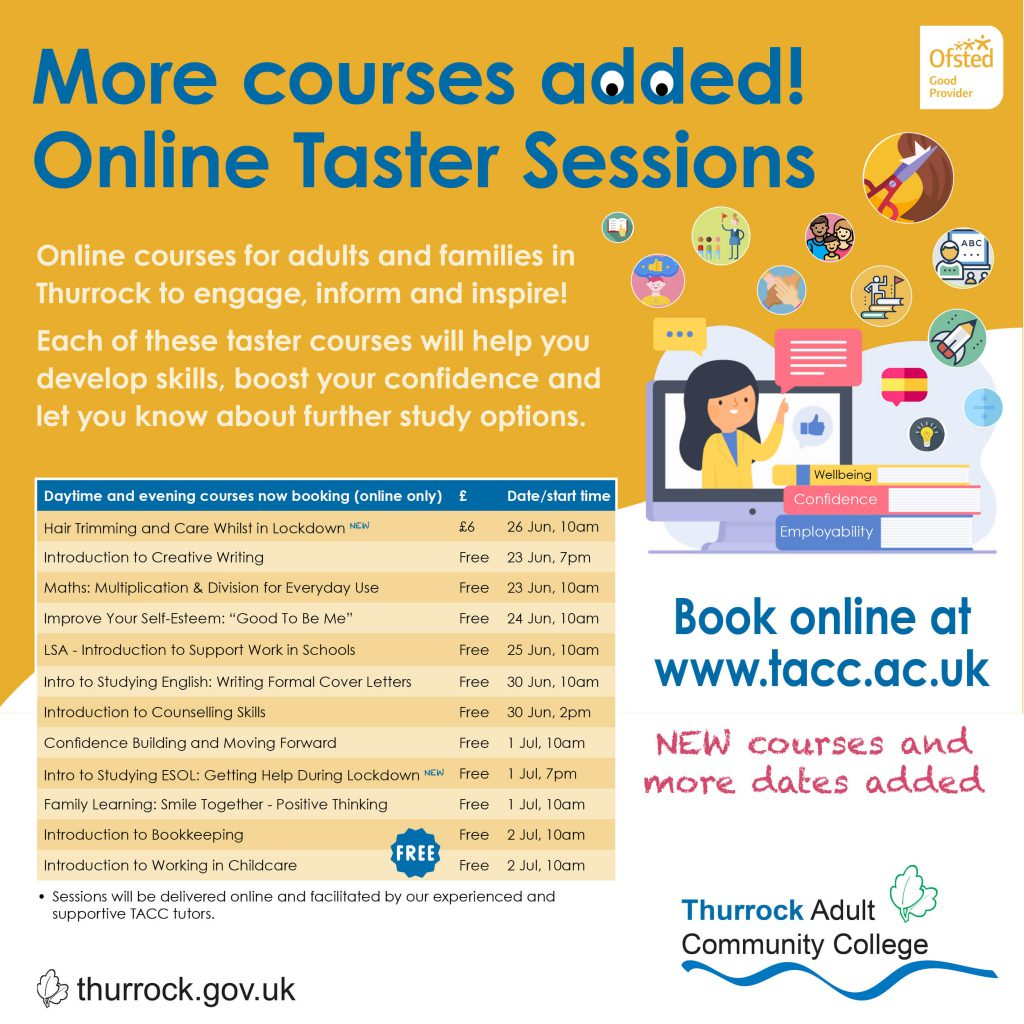List of Online Taster Sessions added, also available on the Find A Course page